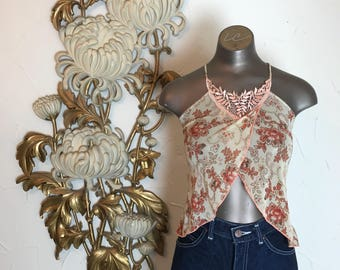 Vintage tank top sheer top mesh top size small floral tank top spaghetti straps criss cross straps belly top cropped top