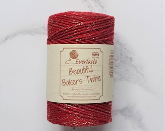 Red and Gold Twine, 10 ply Bakers Twine, Packaging Twine, Cotton Twine, Gift Wrap, Heavy Cotton Twine, Twine Supplies, Christmas Twine