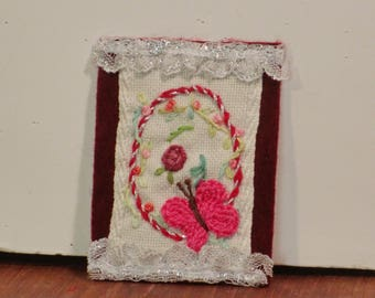 ATC embroidered Pink butterfly