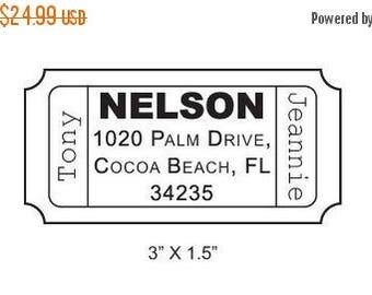 Super Summer Sale Custom Ticket Return Address Rubber Stamp AD47