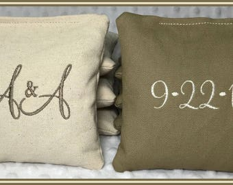 Cornhole Bags Wedding Personalized Set of 8 Cream and Tan Montey Font