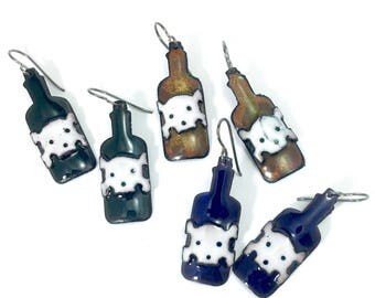 Halloween or Pirate Poison Bottle Enamel Earrings
