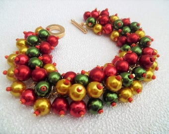 Victorian Christmas Beaded Bracelet, Red Gold and Green Cluster Pearl Bracelet, Christmas Jewelry, Christmas Gift, Chunky Bracelet, Baubles