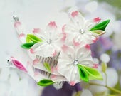 Pink White Cherry Blossom Flower Hair Comb Tsumami Kanzashi