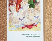 """HOBBIT """"back again."""" bilbo baggins faerie tale feet blank greeting card tolkien middle earth book card with hobbit quote gandalf halthegal"""