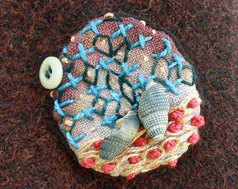 Seashell Embellished Embroidery Brooch Pin with Button