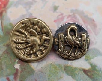 2 Antique Button Stork Crane Bird Victorian Picture