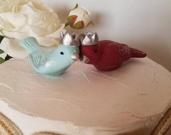 Wedding Bird Cake Topper Aqua and Burgundy Wedding Birds With Silver Crowns Vintage Ceramic Home Decor Bird Home Decor