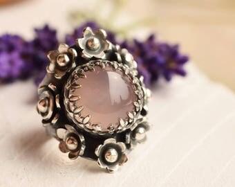 Silver Saddle Ring,  Botanical Ring, Rose Quartz Ring, Flower Ring in Detailed Setting, Gemstone Ring, Statement Ring, Made to Order