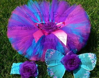 SUMMER SALE 20% OFF Baby Tutu Fairy Wings Costume - Berry Fairy Tutu Set - Sewn 6'' Tutu Wings & Headband - Purple Pink Blue - sizes newborn