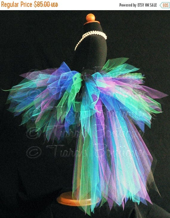 SUMMER SALE 20% OFF Peacock Tutu with Bustle - Children's Custom Sewn 13'' Pixie Tutu with Attached 22'' 3 Tiered Pixie Tutu Bustle - childr