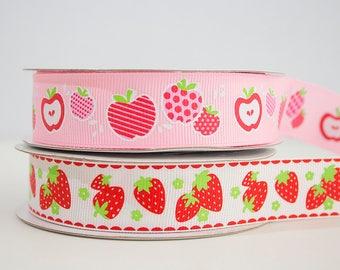 "Strawberry or Apple print grosgrain ribbon 7/8"""