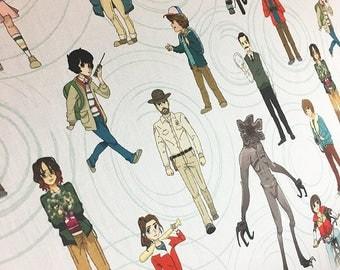 "Swirly People, Stranger Things Inspired-- One 56"" wide yard"