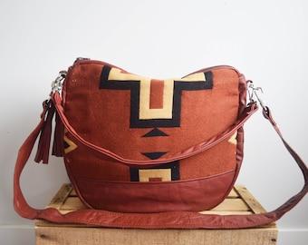 FURROW bag // rust brown leather slouchy hobo bag southwestern print
