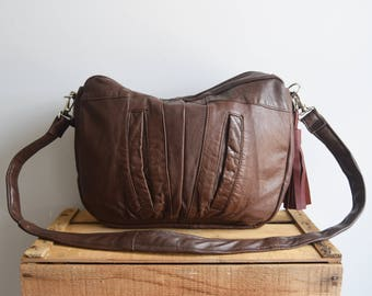 Everyday leather bag, leather bag brown, brown leather, shoulder bag, crossbody purse, recycled leather bag, everyday bag, music festival