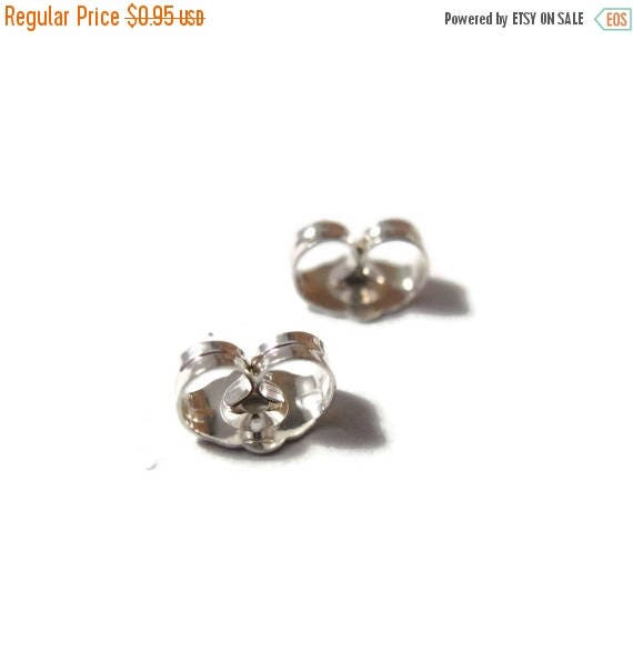 Summer SALEabration - Silver Earring Backs, .925 Sterling Silver Ear Nuts, 6mm x 4.5mm, 2 Pieces, One Set of Silver Earring Backs for Jewelr