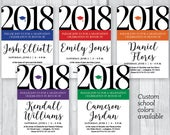 Graduation Party 5x7 Custom Personalized Printable Invitations - Custom School Color Accent - College or High School - Class of 2018