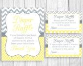 Diaper Raffle 8x10 Printable Baby Shower Sign, Sheet of 3x5 Raffle Tickets - Yellow Chevron Gray & White Polka Dots, Unisex, Gender Neutral