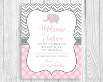 Please Wash Your Hands Printable 8x10 Meet and Greet Baby, Hospital Door Sign Elephant in Light Pink and Gray - Hand Sanitizer Sign
