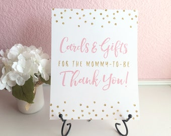 Cards and Gifts for the Mommy-to-be 8x10 Baby Shower Gift Table Sign - Professionally Printed - Light Pink and Gold Glitter Polka Dots