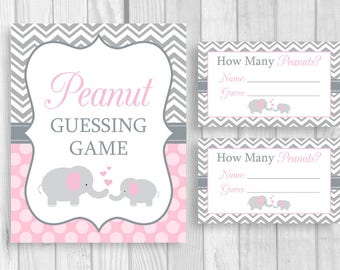 SALE Peanut Guessing Game Printable 8x10 Pink and Gray Elephant Boy's Baby Shower Sign and Sheet of 3x5 Tickets - Instant Download