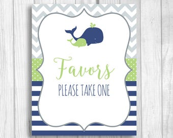 Favors Please Take One Printable 5x7, 8x10 Boy's Whales Baby Shower, Birthday Favor Sign - Navy Blue, Green, Gray - Instant Download