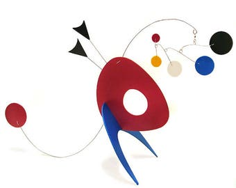 Art Mobile Stabile Wise Guy Table-top Sculpture Calder Inspired Retro Modern Art Pastels Colorful