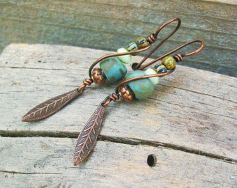 Czech Picasso glass beads wire wrapped in copper with feather charm dangle - tribal earthy rustic dangle earrings