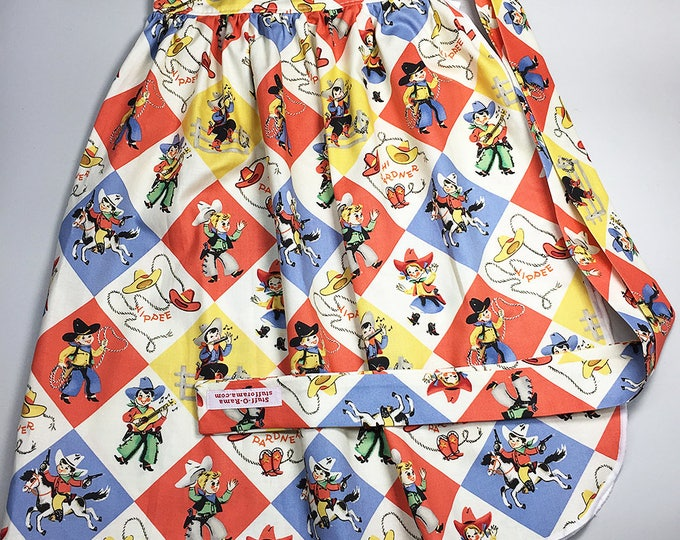 Half Apron - Vintage Pin Up Skirt Style - Retro Cowboys