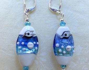 Seaside Ocean Theme Lampwork Beads Dangle Earrings