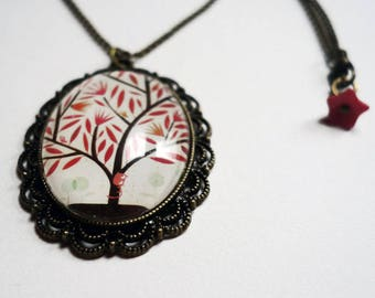 Short necklace, tree red leaves RC010