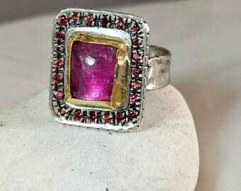 Tourmaline Halo ring, Multistone ring,  Statement Ring, sapphire ,tourmaline,  silver, 22 kt yellow gold ring