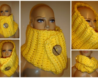 Yellow Scarf - Warm Neckwarmer Scarf Coconut Button - Cowl - Crochet Scarf