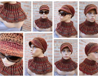 Maroon Brown Blend Hat and Neckwarmer Set - Cowl, Cap, Crochet hat set - handmade cap and cowl - Custom Colors