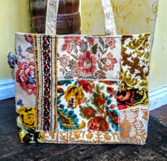 Tapestry tote in yellow floral velvet weekender carpet bag patchwork bag