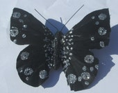 Butterfly Hair Clip large black and silver glitter butterfly handmade Butterfly Accessory Gift for Her by Ziporgiabella sold individually