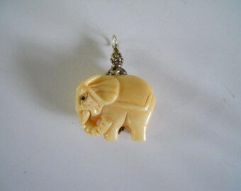Carved Bone Elephant Bead Charm Sterling