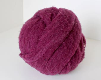 Polypay Wool Roving for Spinning -- Burgundy