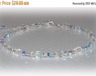 20% OFF Swarovski Crystal Anklet Beaded Ankle Bracelet Crystal Clear AB Austrian Crystal