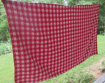 Vintage Red and White Checked Tablecloth - Picnic Tablecloth - Red Cotton Gingham Tablecloth