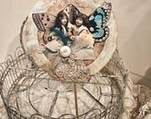 Vintage Butterfly Girls~Aqua Collage Paper Rosette Embellished w/ Antique Lace n Trims Easter Spring Decor