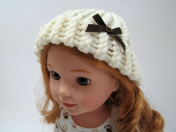 """Fits Like Wellie Wisher - 14"""" Doll Hat - 14 Inch Doll Clothes - 14.5"""" Doll Knitted Hat - Cream Color - Handmade - American Doll"""