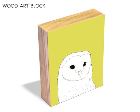 Barn Owl - wood art block