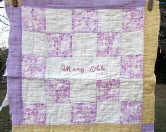 "Antique Quilt Square ""Mary Okle"" - Friendship quilt block - signed quilt - vintage cutter quilt - signature - embroidered - farmhouse"