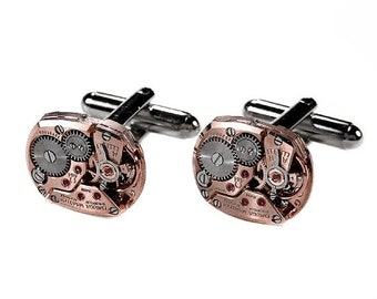 OMEGA Rose Gold Cufflinks Genuine LUXURY Steampunk Jewelry Mens Cuff Links Wedding Anniversary Grooms Fathers Day - by edmdesigns