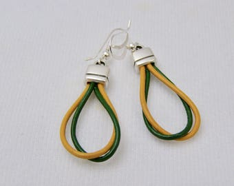 Earrings,Green and Gold,Leather Earrings,School Colors,Team Color Jewelry,Accessories,Gift For Her,Sterling Silver Ear Wires,Handmade