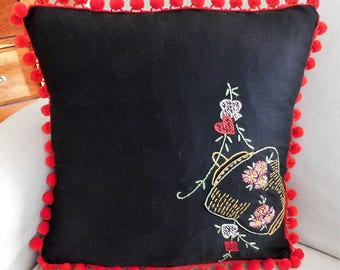 Vintage Fabric Covered Cushion Black Embroidered Throw Pillow Chinese Lantern