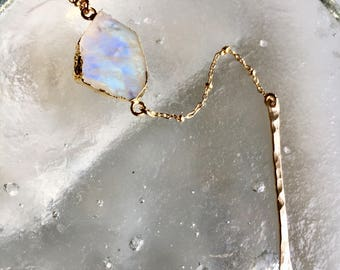 Rainbow moonstone bar drop necklace