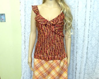Orange Dress, Handmade Dress, Upcycled Clothing, Recycled Clothing, Ruffled Dress, Plaid Skirt, Flirty Dress, Unique Clothing, Sleeveless
