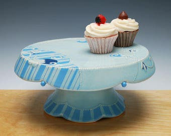 Large Cake Stand in light turquoise Frost w. Floral, Sky blue Stripes, & Navy detail